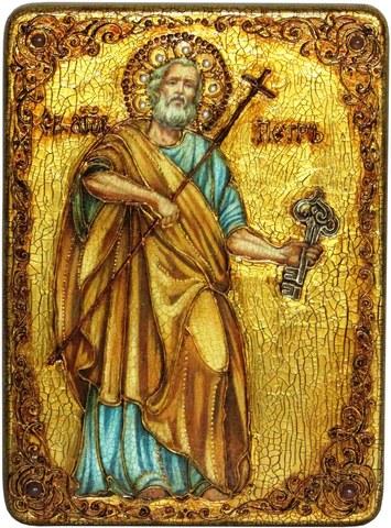 Инкрустированная икона Первоверховный апостол Петр 29х21см на натуральном дереве в подарочной коробке