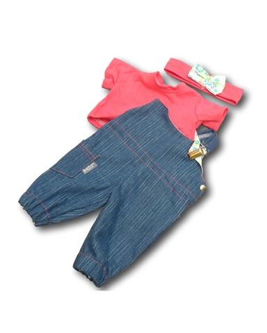 Полукомбинезон из джинсовой ткани - Цикламеновый. Одежда для кукол, пупсов и мягких игрушек.