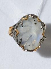 Адуляр малый (серебряное кольцо с позолотой)