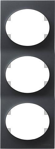 Рамка на 3 поста, вертикальный монтаж. Цвет Антрацит. ABB(АББ). Tacto(Такто). 5573 AN