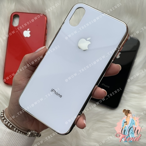 Чехол iPhone X/XS Glass Case Logo /white/