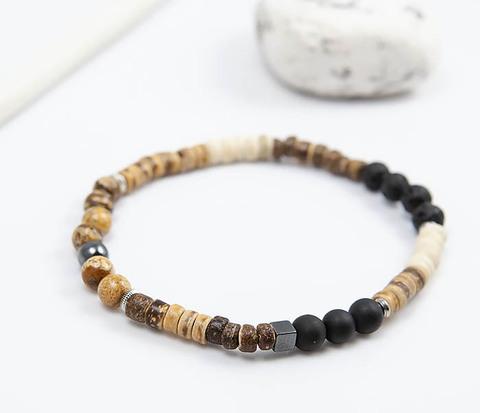 Браслет из камня и кокосовых бусин, коллекция ETHNO