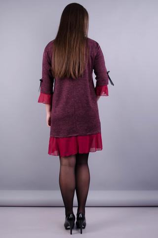 Чеслава. Женское платье plus size. Бордо.