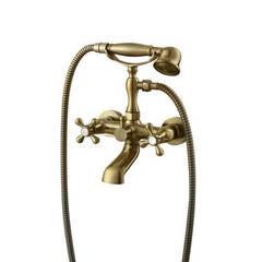 Смеситель для ванны и душа Kaiser (Кайзер) Carlson Style 44322-1G двухвентильный с лейкой и шлангом, цвет - бронза