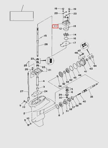 Корпус помпы  для лодочного мотора T15, OTH 9,9 SEA-PRO (16-11)