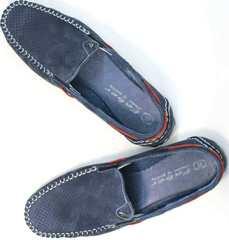 Легкие летние туфли мокасины из натуральной кожи 142213-7 Navy Blue.