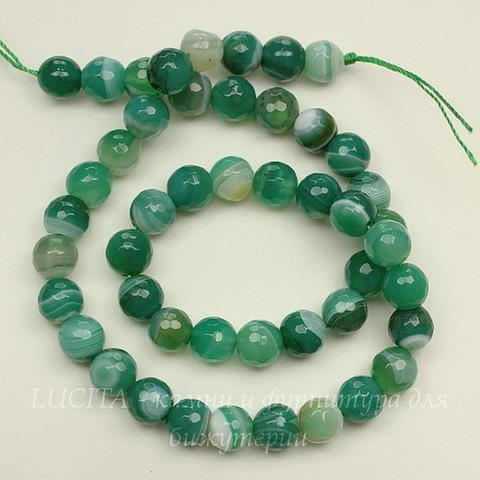 Бусина Агат, шарик с огранкой, цвет - зеленый, 8 мм, нить