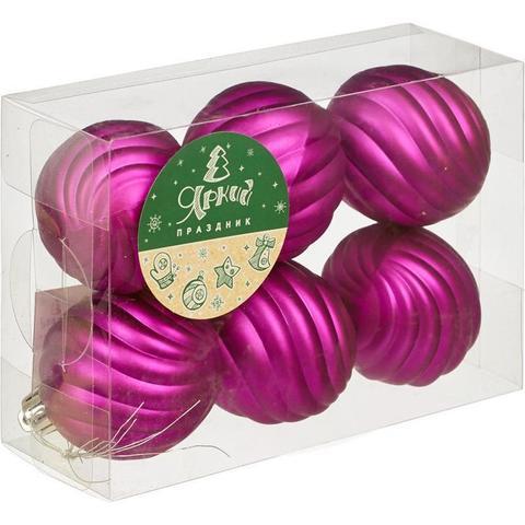 Новогоднее украшение набор из 6 шаров, d=6см, фиолетовый с рел.поверх., 16554