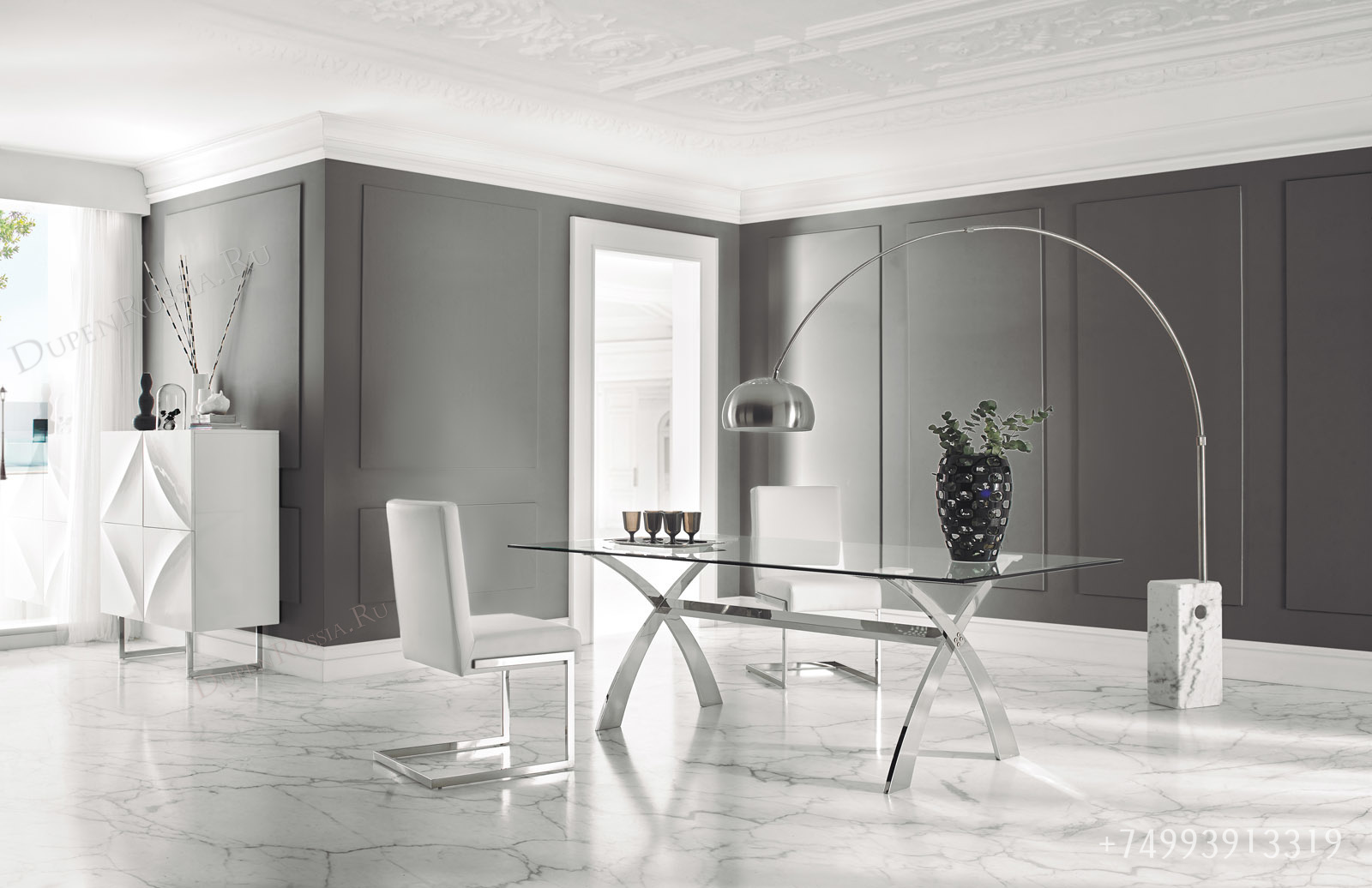 Обеденный стол DUPEN DT-18 Прозрачный, стулья DUPEN CH-1008 и Буфет DUPEN W-101