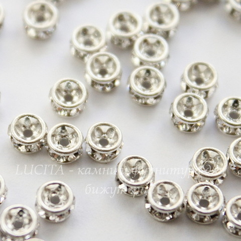 77503 Бусина - рондель Сваровски Crystal (цвет - серебро) 3х2 мм