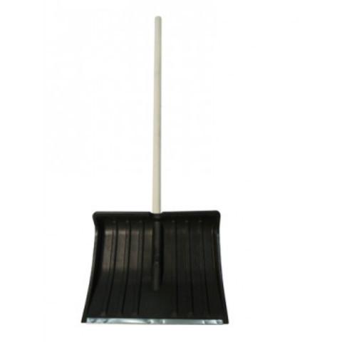 Лопата снеговая пластик 500x390мм, с оц.планкой, с дер.чер. (№3)