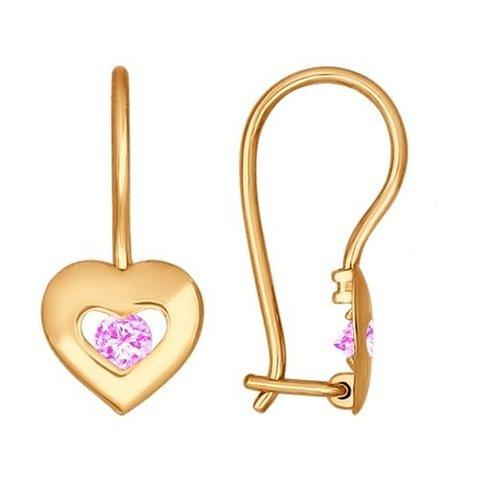 027228 - Серьги из золота с розовыми фианитами