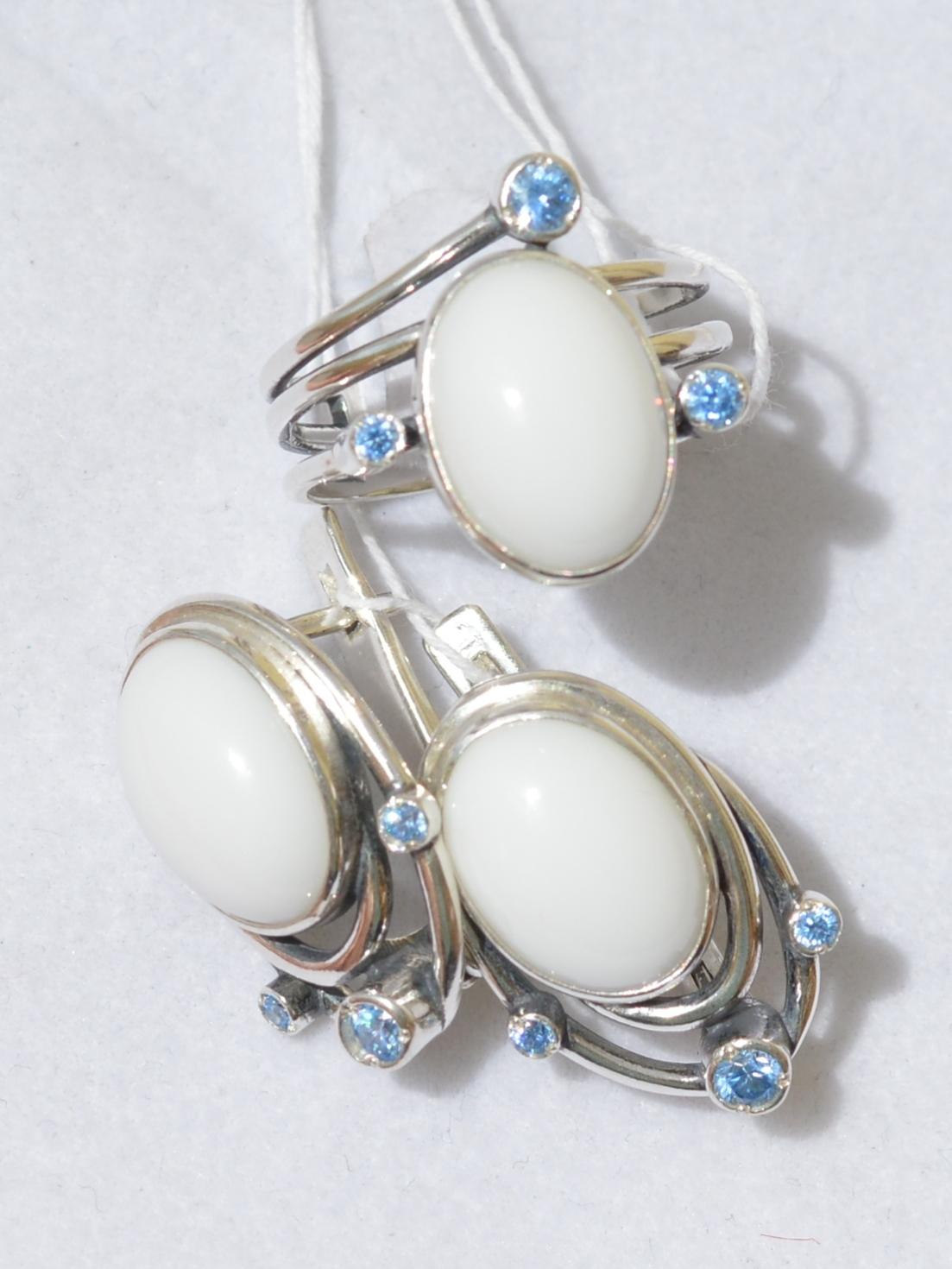 Альтиери (кольцо + серьги из серебра)