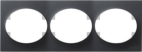 Рамка на 3 поста, горизонтальный монтаж. Цвет Антрацит. ABB(АББ). Tacto(Такто). 5573.1 AN