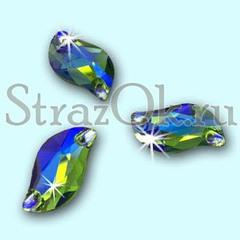 Стразы пришивные стеклянные S Shape Peridot AB, С Форма  Перидот АБ зеленый с радужным покрытием на StrazOK.ru
