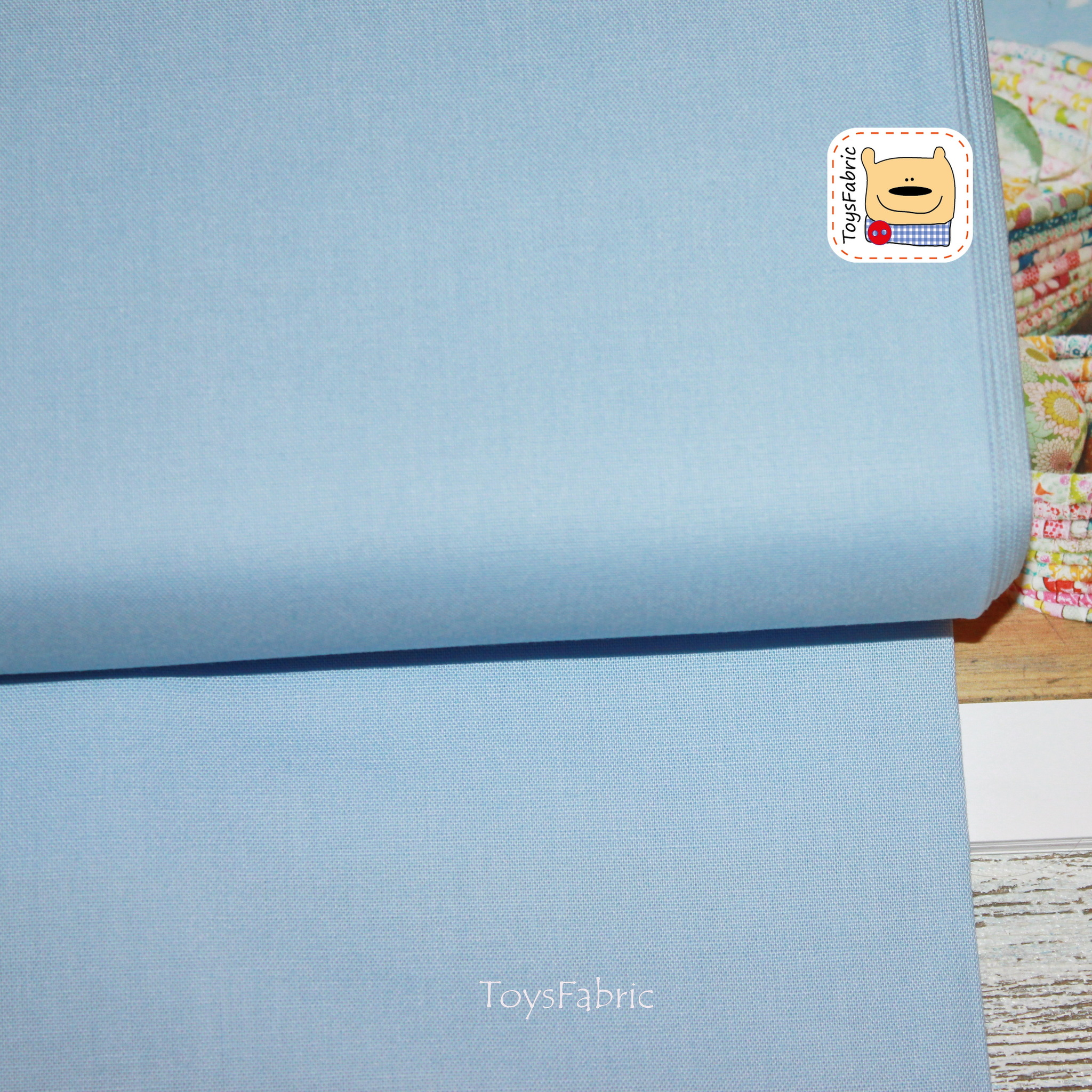 Ткань для пэчворка 20824 корейский хлопок (однотонный голубой) 45х55см