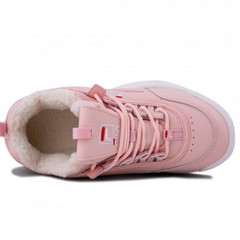 Зимние Fila Disruptor 2 Pink/White With Fur