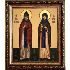 Кирилл и Мария Радонежские Преподобные.  Икона на холсте.
