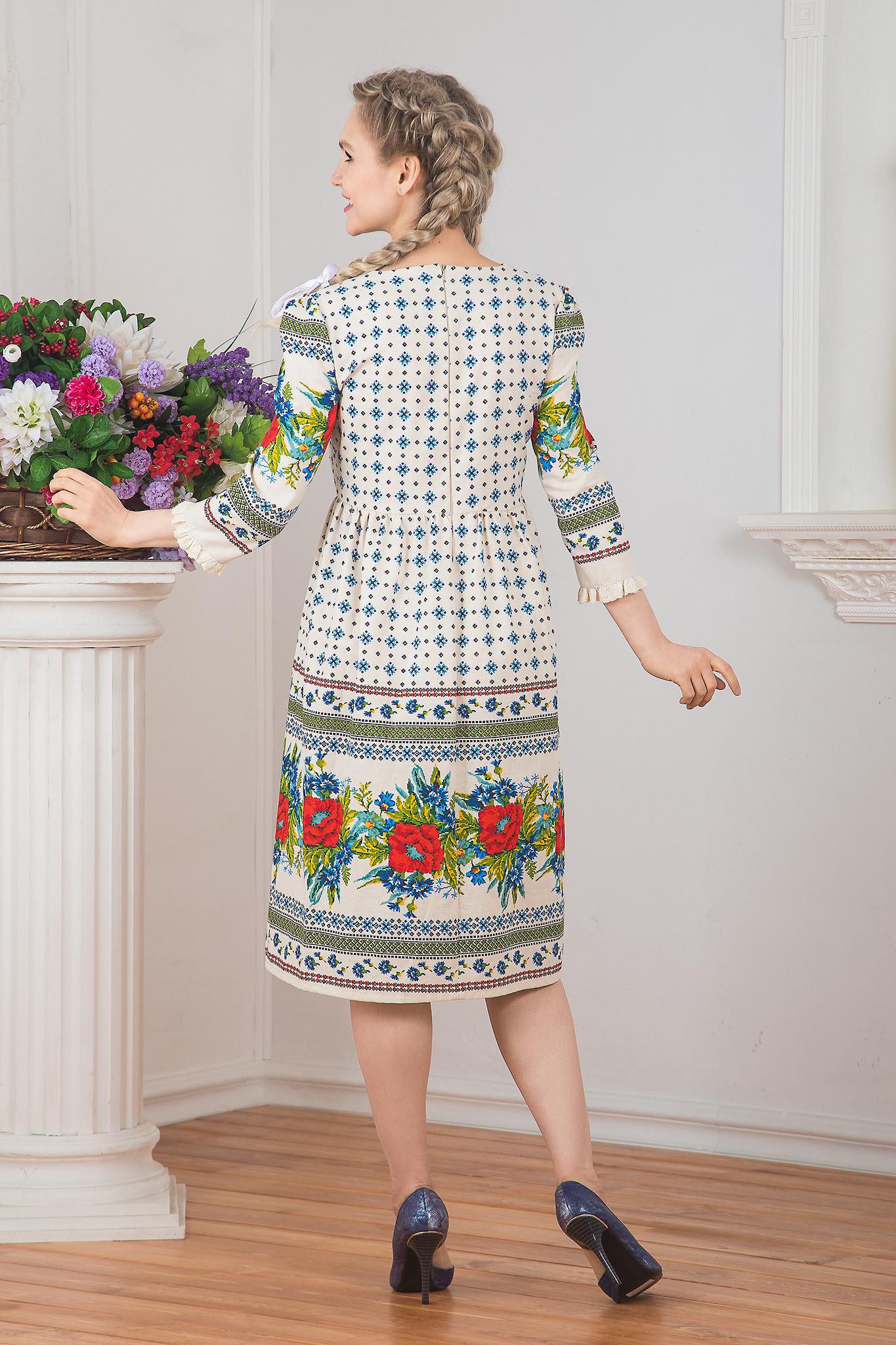 Платье льняное Квитка вид сзади