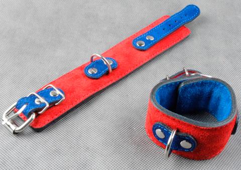 Велюровые наручники узкие подшитые