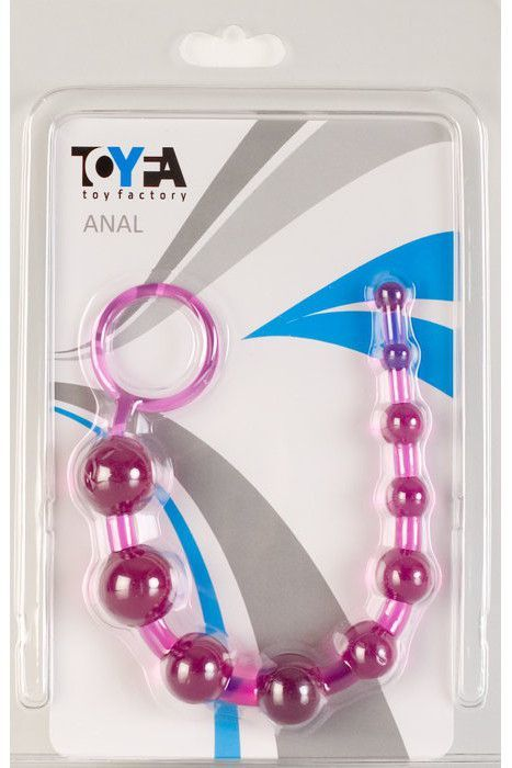 Анальные шарики, цепочки: Фиолетовая анальная цепочка с кольцом - 25 см.