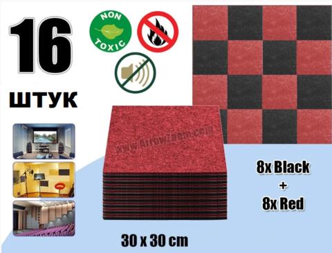 POLYSTER  набор  16 штук из полиэфирного волокна черный+красный 300x300x9