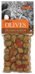 Оливки зеленые с орегано и пепперони OLIVES с косточкой 150 гр