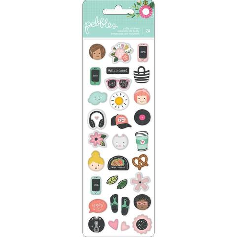 Обьемные стикеры -коллекция Girl Squad Girl Squad Puffy Stickers Mini Icons  - Pebbles -31шт.