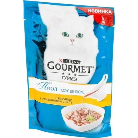 Gourmet Перл пауч для взрослых кошек в соусе делюкс (курица) 85 г