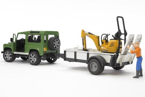 Bruder: Внедорожник Land Rover Defender c прицепом и экскаватором 8010 CTS, 02-593