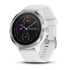 Часы с GPS Garmin Vivoactive 3 серебристые с белым ремешком