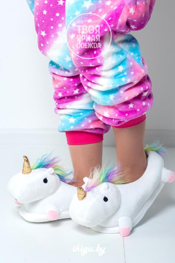 "Тапочки Тапочки ""Slippers Unicorn Белые"" белые-пушистые.jpg"