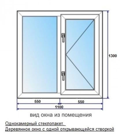 Окно 1.1 х 1.3 м деревянное однокамерный стеклопакет двухстворчатое с одной открывающейся створкой