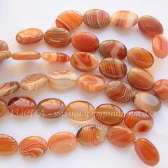 Бусина Агат (тониров), овальная плоская, цвет - карамельный, 18х13 мм, нить