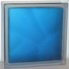 Стеклоблок волна окрашенный изнутри синий (матовый с одной стороны) Vitrablok  19x19x8