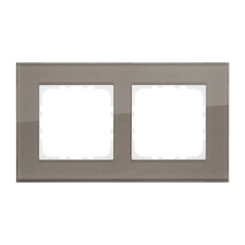 Рамка на 2 поста, натуральное стекло. Цвет Серо-коричневый. LK Studio LK80 (ЛК Студио ЛК80). 844219-1