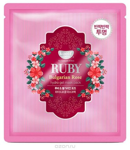 Petitfee Гидрогелевая маска для лица с рубиновой пудрой и болгарской розой Koelf Ruby & Bulgarian Rose Mask Pack
