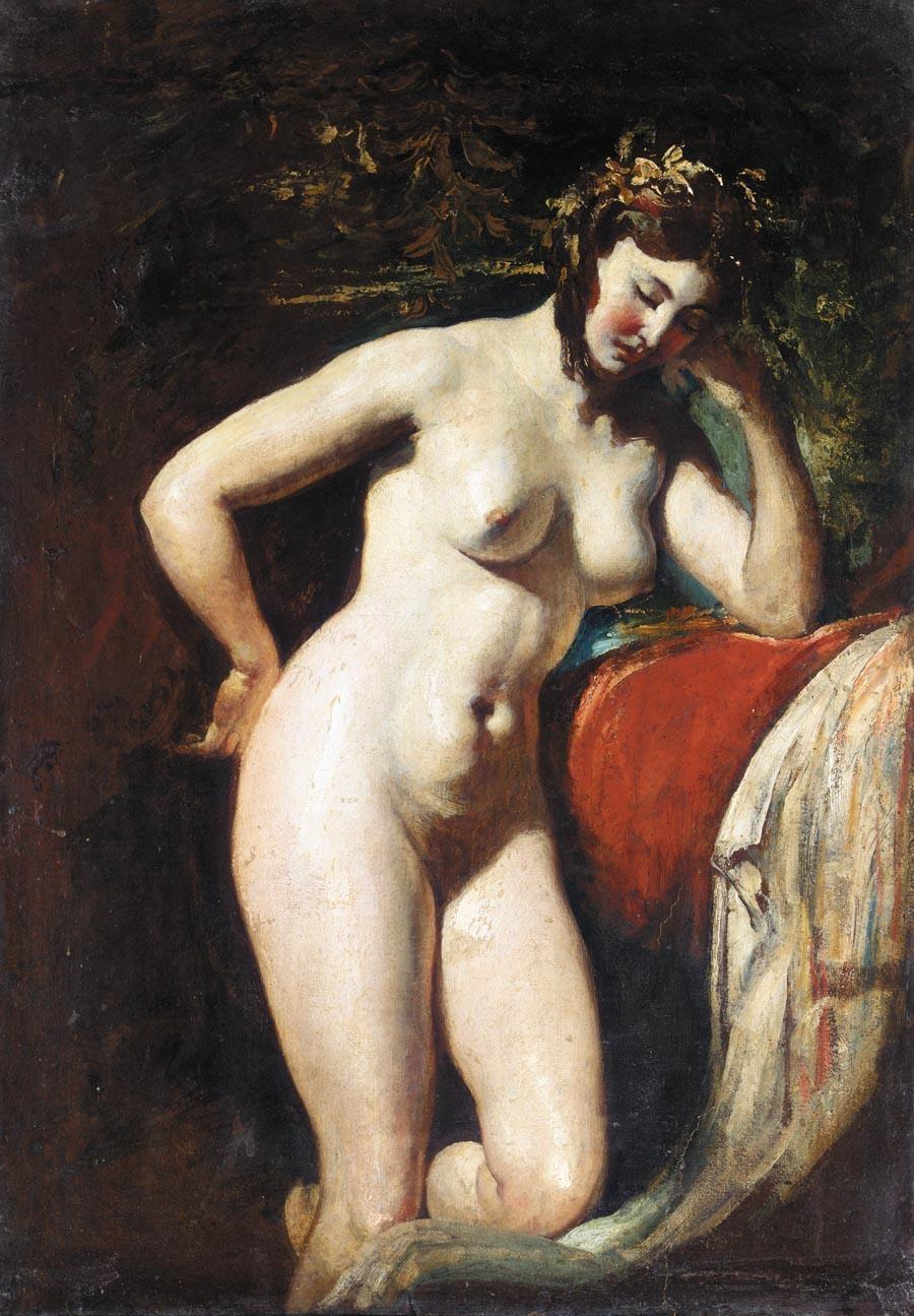 Уильям Этти. Этюд обнаженной - Созерцание (Study Of A Female Nude - Contemplation). 47 х 29. Бумага на холсте, масло. Частное собрание.
