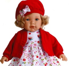 JUAN ANTONIO munecas Кукла Лула в красном, озвученная, 55 см (1023R)