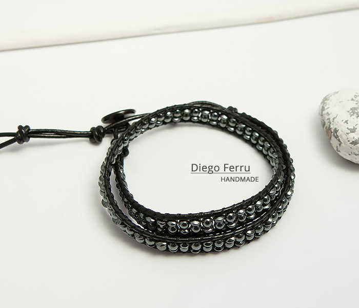 BS748 Красивый браслет из натурального гематита ручной работы, Diego Ferru фото 01