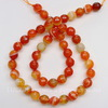 Бусина Агат (тониров), шарик с огранкой, цвет - оранжевый с белыми полосками, 8 мм, нить