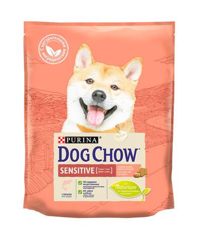Purina Dog Chow сухой корм для взрослых собак с чувствительным пищеварением (лосось) 800г