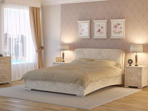 Кровать двуспальная Nuvola 4 (Нувола 4)ткань: Глазго Рогожка бежевая