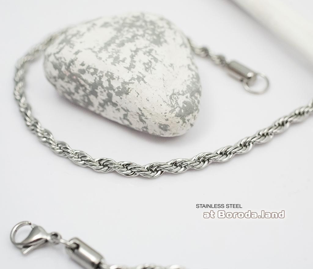 Тонкая плетеная мужская цепочка из стали (60 см)