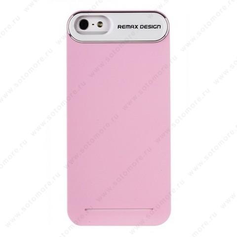 Накладка REMAX для iPhone SE/ 5s/ 5C/ 5 с силиконовой наклейкой розовая