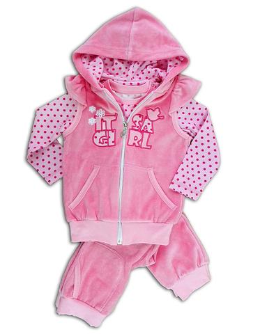 Basia Комплект для девочки велюровый Л153 розовый