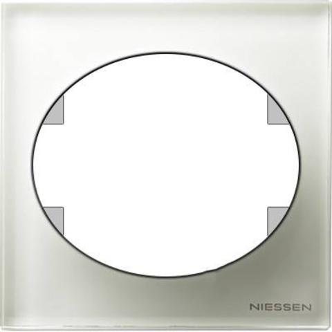Рамка на 1 пост. Цвет Белое стекло. ABB(АББ). Tacto(Такто). 5571 CB