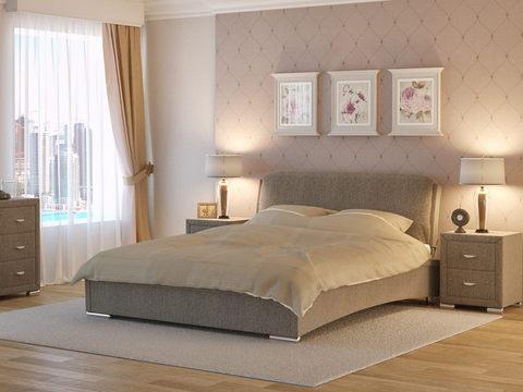 Кровать двуспальная Nuvola 4 (Нувола 4) Ткань: Глазго Коричневая
