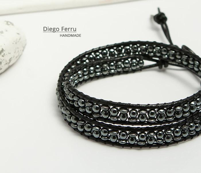 BS748 Красивый браслет из натурального гематита ручной работы, Diego Ferru фото 04