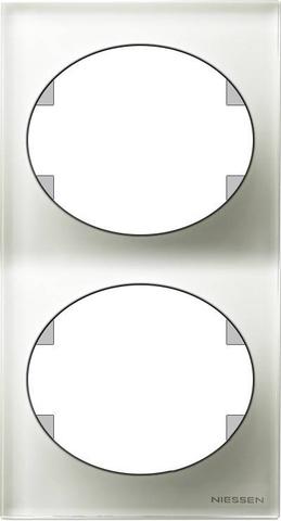 Рамка на 2 поста, вертикальный монтаж. Цвет Белое стекло. ABB(АББ). Tacto(Такто). 5572 CB